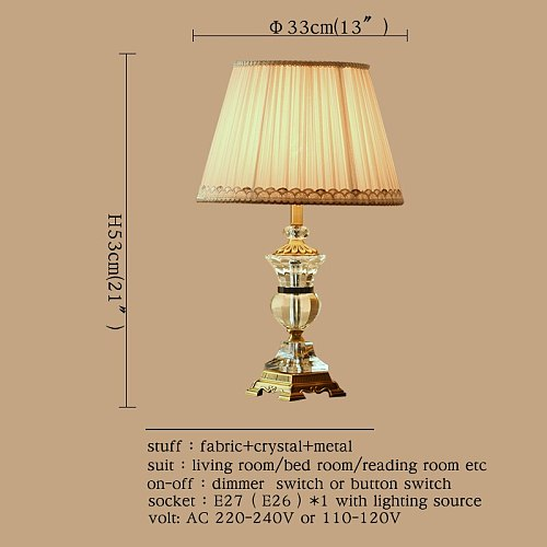 OUFULA Crystal Table Lamps Desk Lights LuxuryModern Contemporary Fabric for Foyer Living Room Office Creative Bed Room Hotel