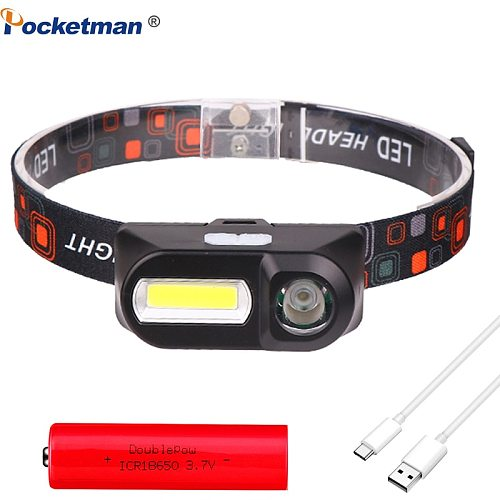 Portable mini XPE+COB LED Headlamp USB Rechargeable Camping Head lamp Fishing headlight flashlight torch by 18650 battery