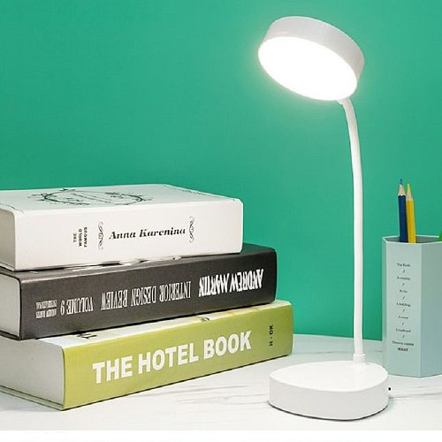 LED Three-Speed Touch Dimming Reading Lamp USB Charging Plug-in White Warm Eye Protection Student Table Light