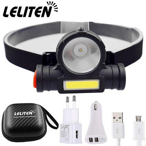 USB Rechargeable Portable Mini Flashlight Lantern Q5+COB LED Headlamp + 1 * Built-in 18650 Battery Outdoor Camping Headlight