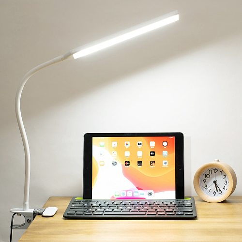 LED 360° Folding Clamp Desk Lamp Eye Protection Rechargeable Table Lamp Clip On Light For Bed Reading Working And Computers