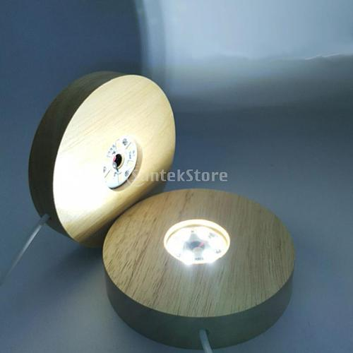 LED Display Lights Wooden Lighted Base Stand Assembled Base Holder for Crystal Ball Acrylic Jewelry Supports Home Art Ornament