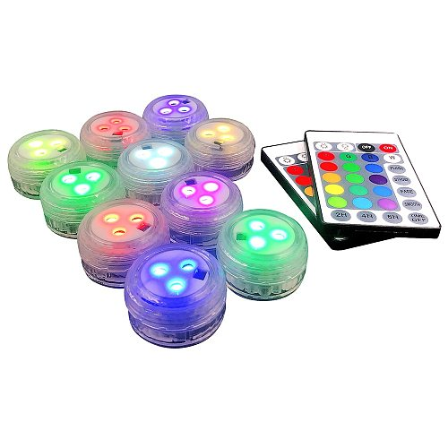 10Pcs Submersible LED Lights with Remote Full Waterproof Pool Lights Color Changing Underwater Lights for Ponds Vase Aquarium