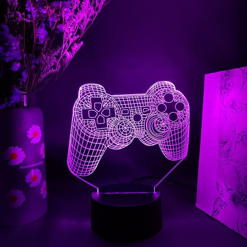 3D Vision Lamp Cool Gift for Game Fans Console Handle Image 7 Color Changing Touch Sensor Night Light Gaming Room Decoration