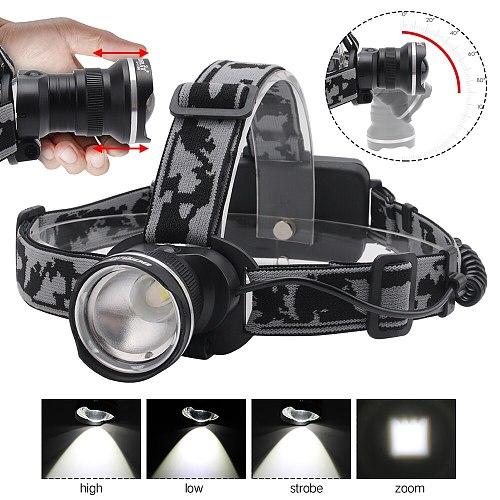 BORUIT RJ-2190 T6 LED Headlamp Zoom 3-Mode Headlight 18650 Battery Flashlight Waterproof For Camping Fishing Head Torch