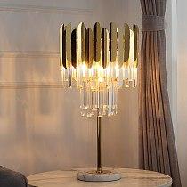 Fss Modern Crystal Table Lamp Gold Polished Steel Desk Decor LED Lamparas de mesa para el dormitorio Light fixtures