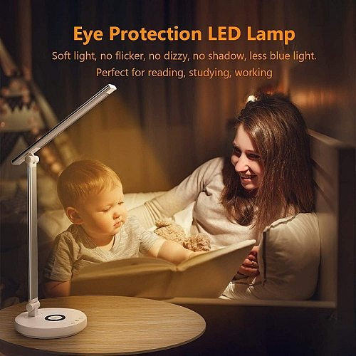 Desk Lamp with Wireless Charger Table Lamp with USB Type-c Charging Port 5 Brightness 5 Lighting Modes Eye-Caring LED Desk Lamp