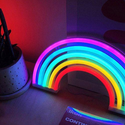 Children Bedroom Cute Night Lamp Rainbow Shape Neon LED Night Light USB/Battery Powered Bedroom Decorative Lamp