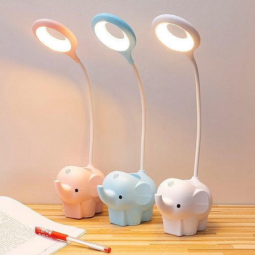 Creative Elephant Animal Led Table Lamp Charging Plug-in Dual-Use Three-Color Temperature Adjustable Learning Table Lamp