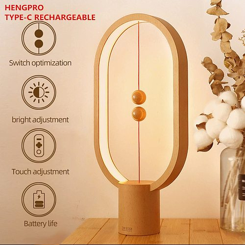 Dropship USB Rechargeable Hengpro Balance LED Table Lamp Ellipse Magnetic Mid-Air Switch Eye-Care Night Light Touch Control