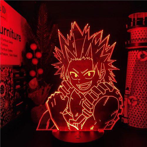 My Hero Academia LED Lamp Kirishima Eijiro 3D Night Light Anime Boku No Hero Academia Lampara De Noche Dormitorio Navidad Xmas