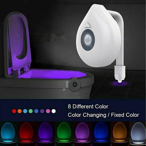 O-obest LED Toilet Light PIR Motion Sensor Night Lamp 8 Colors Backlight WC Toilet Bowl Seat Bathroom Night Light For Children