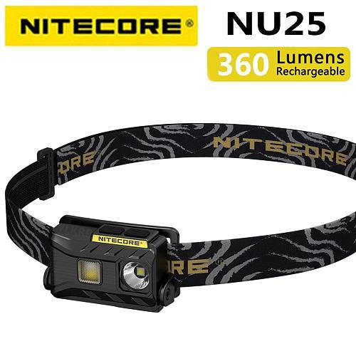 2018 Nitecore NU25 3xLED Rechargeable Headlamp 360 Lumen Triple Outputs Lightweight Headlight Flashlight Outdoor Running Cycling