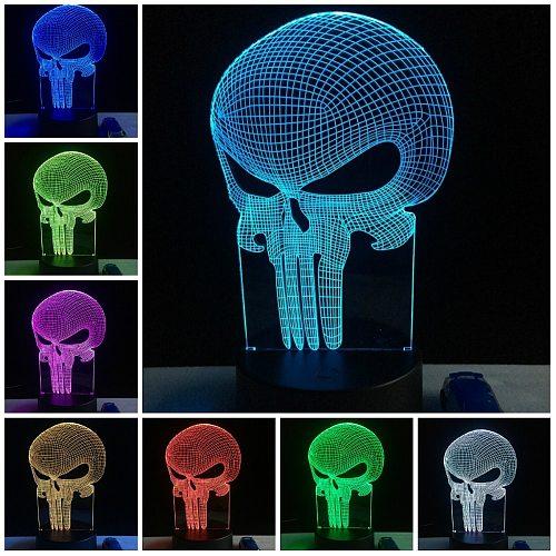 Halloween Decorative Eagle Skull Alien 3D Lamplight Gifts Toys LED USB Mood Night Light Multicolor Luminaria Bedroom Table Lamp