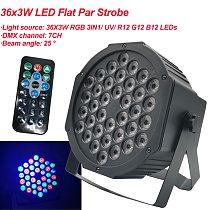 2020 New LED Flat Par 36x3W RGB Color Lighting Strobe DMX For Atmosphere of Disco DJ Music Party Club Dance Floor BAR Darkening