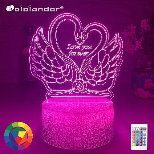New Swan I LOVE YOU 3d Night Light with Heart Led Touch Switch Colorful Atmosphere for Home Decoration Light Table Lamp Bedside