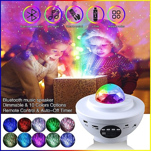 Projection Lamp LED Galaxy Projector Ocean Wave Night Lamp Music Player Remote Star Rotating Night Luminaria for Kid Bedroom