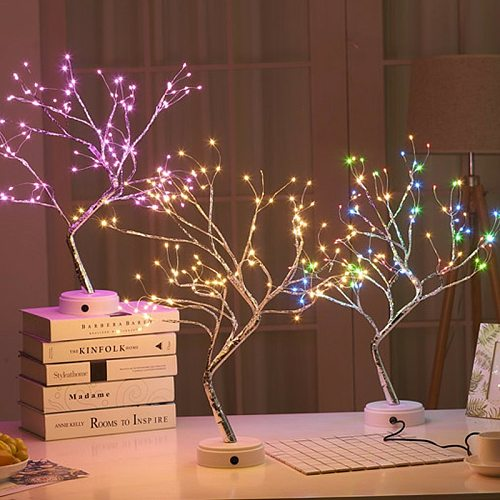 108 LED USB Table Lamp Copper Wire Christmas Fire Tree Night Light Table Lamp Home Desktop Decoration Christmas Decoration