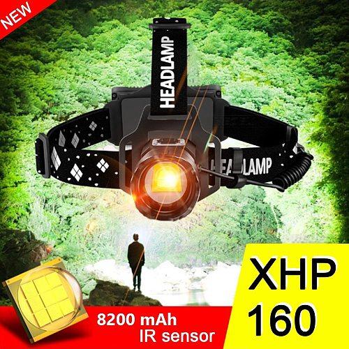 Super Bright XHP160 Powerful Led Headlamp IR Sensor Head Lamp Light XHP90 Usb Head Flashlight 18650 Rechargeable Fishing Lantern