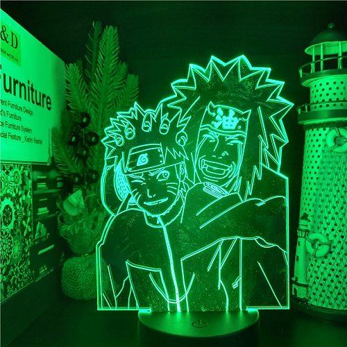 Bandai Uzumaki Naruto Jiraiya Anime Lamp 3D LED Nightlights Colors Changing Naruto 3D Visual Lighting For Christmas Gift