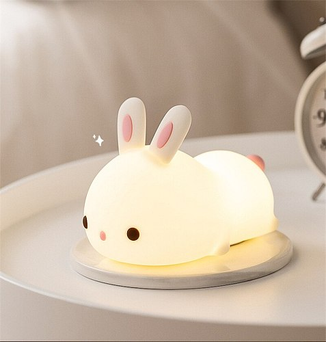 LED Night Light Colorful Silicone Rabbit USB Rechargeable Bedroom Lamps for Children Baby kids Gift