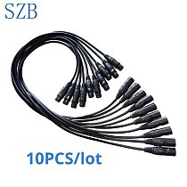 1 Meter length DMX Cable 3-pin dmx in and out signal Connection 3.5ft XLR for Stage Lighting Equipment 10pcs/lot/SZB-AC008