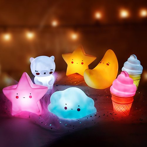 Baby Night Light LED Cartoon Lamp Stars White Clouds Ice cream Mood Lights Children Kids Gift Glow Toy Bedroom Decor Night Lamps