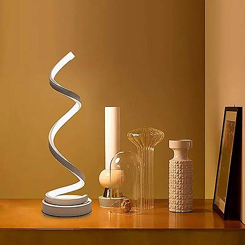 LED Spiral Table Lamp,Modern Curved Desk Bedside Lamp,Dimmable Warm White Light For Living Room And Bedroom