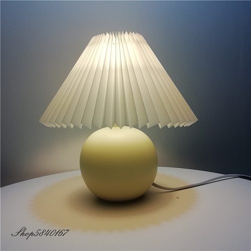 Korean Pleated Table Lamp Ins DIY Ceramic Table Lamps for Living Room Home Decor Cute Lamp With Tricolor led Bulb Beside Lamp