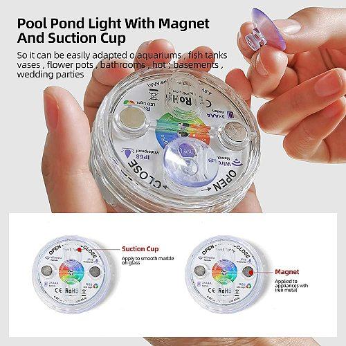 2020 Upgrade Magnet RGB Submersible Light IP68 13LEDs Underwater Night Lamp Outdoor Vase Bowl Pond Swimming Pool Decor Lamp