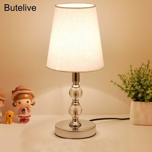 Table Lamp Crystal Bedside Lamp Nordic Mini LED Desk Lamp For Bedroom Living Room Baby Room Bookcase Flaxen Fabric E27 EU Plug