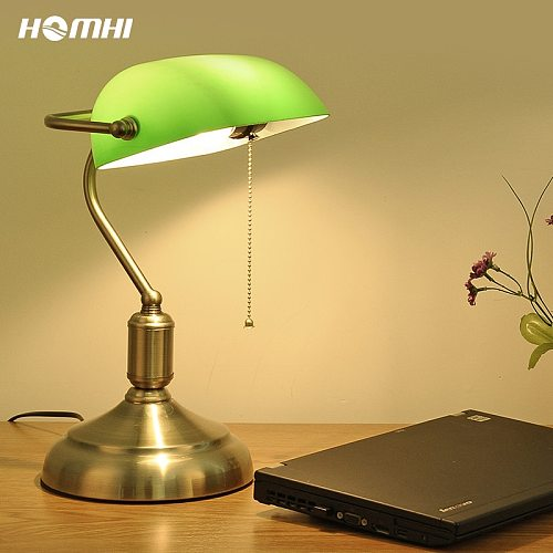 Vintage Green Banker Rustic Table Lamp Lampara Led Industrial Glass Retro With Switch Classic Lampshades Desk Bedroom Readding