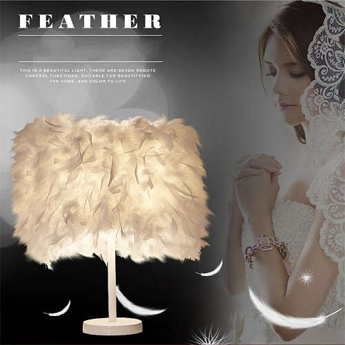 Feimefeiyou modern Creative Feather Lamp e27 Table Lamp for Baby Kids Children Bedroom Droplight Lighting Decor small size