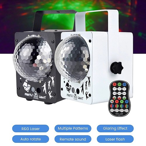 LISM RGB LED 18W Stage Light Effect Laser Projector Sound Activated Rotating Disco Ball DJ Starry Sky Party Colorful Lamp Galaxy