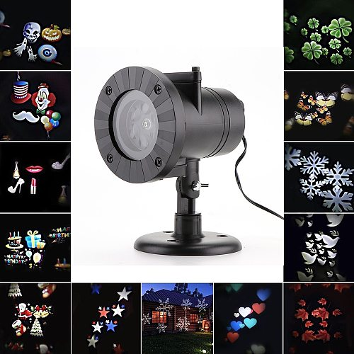 12 Patterns LED Projector Lamp Christmas Snowflake Heart Birthday Wedding Party LED Projection Light Home Xmas Halloween Decor