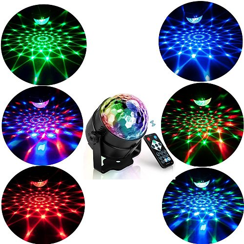Sound Activated Rotating LED Stage Lights Disco Ball  Party Lights Strobe Light 3W RGB Light Stage Laser Projector effect Lamp