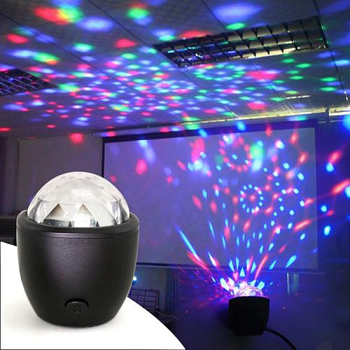 Mini Stage Light  Crystal Ball Disco Xmas For Club DJ Party USB Multicolor 3W USB Powered Sound Active LED Stage Light
