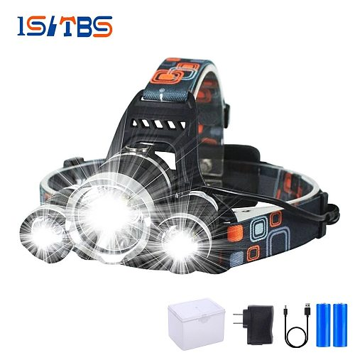 LED Headlamp Super Bright Headlight T6 Outdoors Waterproof USB DC Rechargeable 18650 Battery Hiking Camping Fishing Light