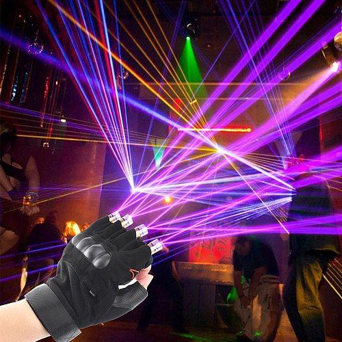 Battery Powered LED Laser Gloves Green Red Purple LED Bulb Dance Show Finger Gloves Laser For Disco Music Party Stage Lighting