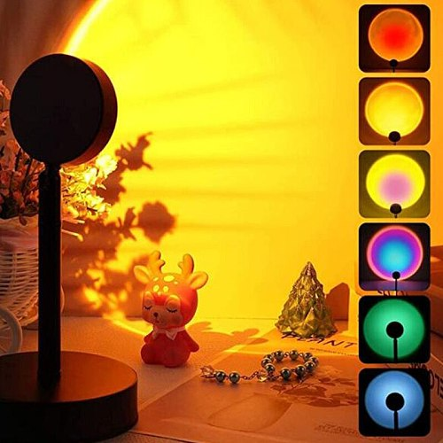 2021 Novel RGB Variable Light Sunset Projection Lamp LED Sunset Light Remote Control Color Changing USB Ambient Light