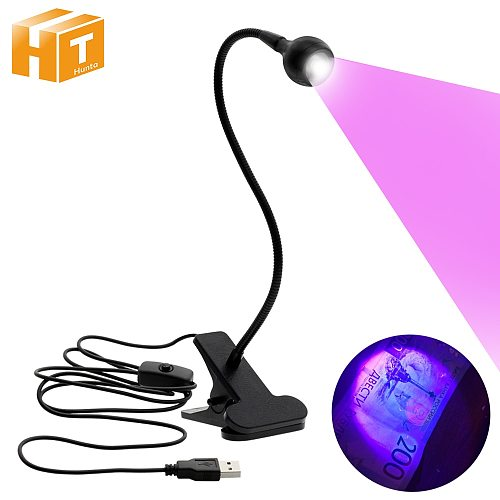 USB Led Desk Light Mini Clip-On Flexible Bright Led UV Lamp Adjustable Glue Nail Dryer Cash Medical Product Detector with Switch