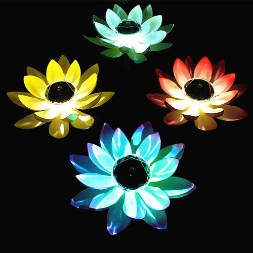 Solar Powered Led Flower Light Floating Fountain Pond Garden Pool Lamp Realistic Lotus Shape Lamps Bulb Garden Decoration #T2P