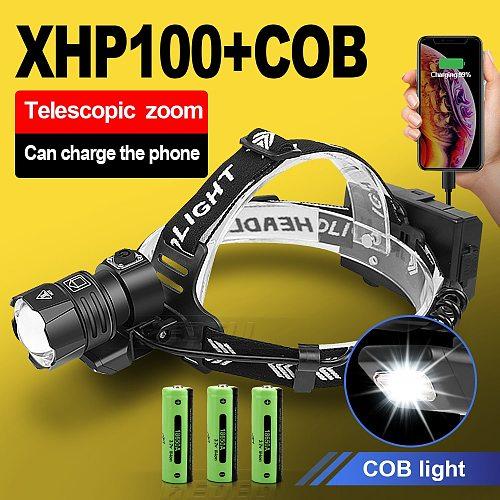 Led Headlight XHP100 Powerful Headlamp 18650 Usb Flashlight Head Light Led Fishing Lamp Xhp90 Rechargeable Front Lamp Head Torch