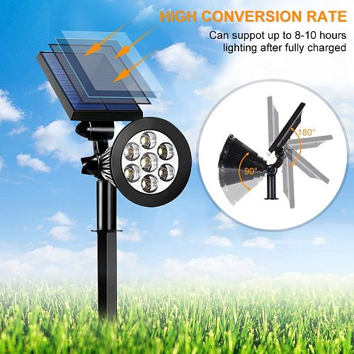 7 LED Outdoor Solar Lights RGB Changing Lawn Ground Lamp IP65 Waterproof Landscape Spotlights Garden Decoration Outdoor Lights