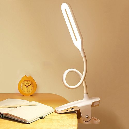Creative LED 360° Folding Clamp Desk Lamp Eye Protection USB Rechargeable Dimming Clip On Light For Book Bed And Computers