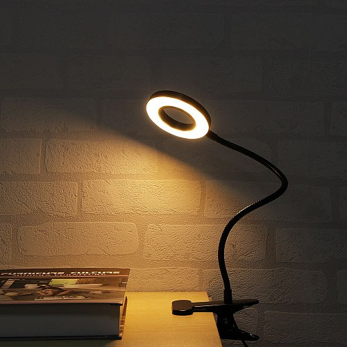 Flexible Touch Dimming Table Lamp Clip On Lamp For Book Bed And Computer 3 Color Modes USB Rechargeable Led Desk Lamp 4 Buttons