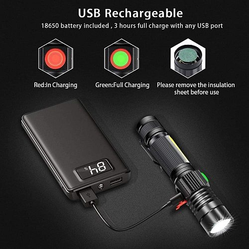 8000LM USB Rechargeable Flashlight Super Bright Magnetic LED Torch with Cob Sidelight a pocket clip Zoomable for Camping