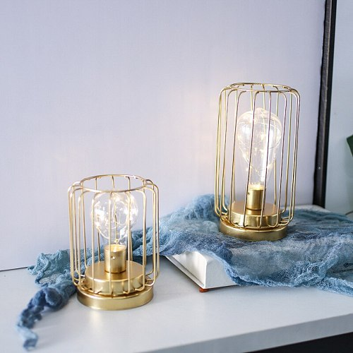 1Pc Nordic Hollow Out Table Lamp Wedding Party Bedside Decorative Candlestick Night Light with Bulb