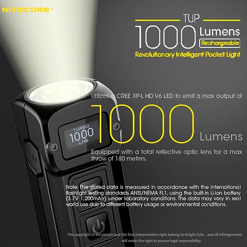 NITECORE TUP USB Rechargeable MINI Flashlight CREE XP-L HD V6 max 1000 LM beam distance 180M Revolutionary Intelligent EDC Torch