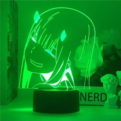 Newest Anime Zero Two 3d led light Lamp Figure Nightlight Kids Child Girls Manga Gift Night Light Lamp Darling In The Franxx